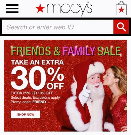 A Macy's add spreading Christmas cheer and discounts for the holiday season.