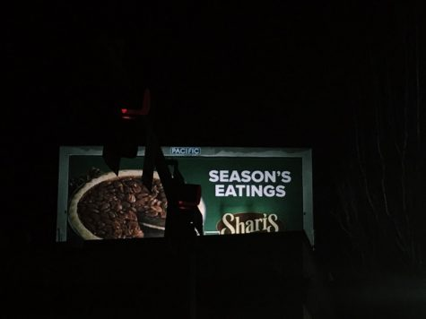 An advertisement for pie on a billboard in NE Portland.