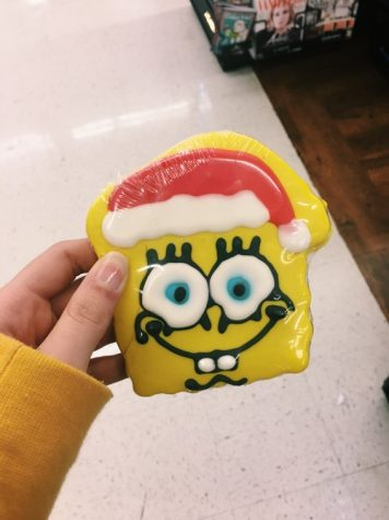Buy this cookie because it is Spongebob, and Santa!