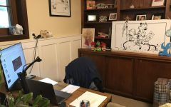 Lakeridge teacher Matt Briggs's work space from home.