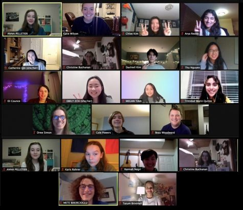 Spliced from two screenshots of the LHS speech and debate team in a video call. Each nametag corresponds to the person in the portrait above it.